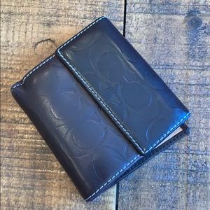 Classic c coach leather embossed men's bifold